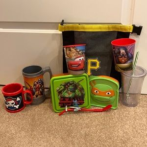Boys kitchen accessories lot, cups, lunch box +